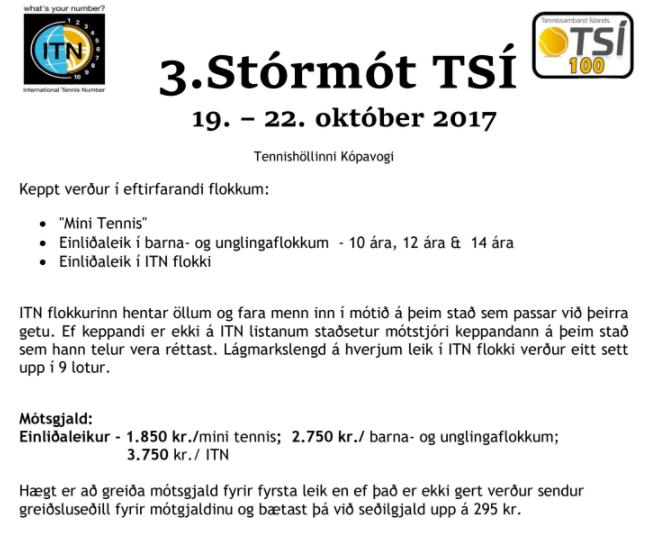 3. Stórmót TSÍ 2017: Skráning opin!