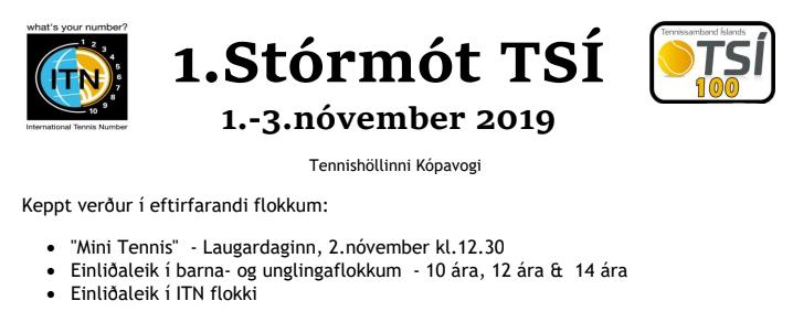 Mótskrá 1.Stórmót TSÍ, 1.- 3.nóvember